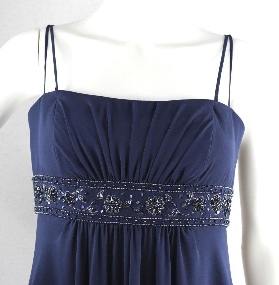 Davids Bridal women's dress bridesmade blue strapless long polyester size 4