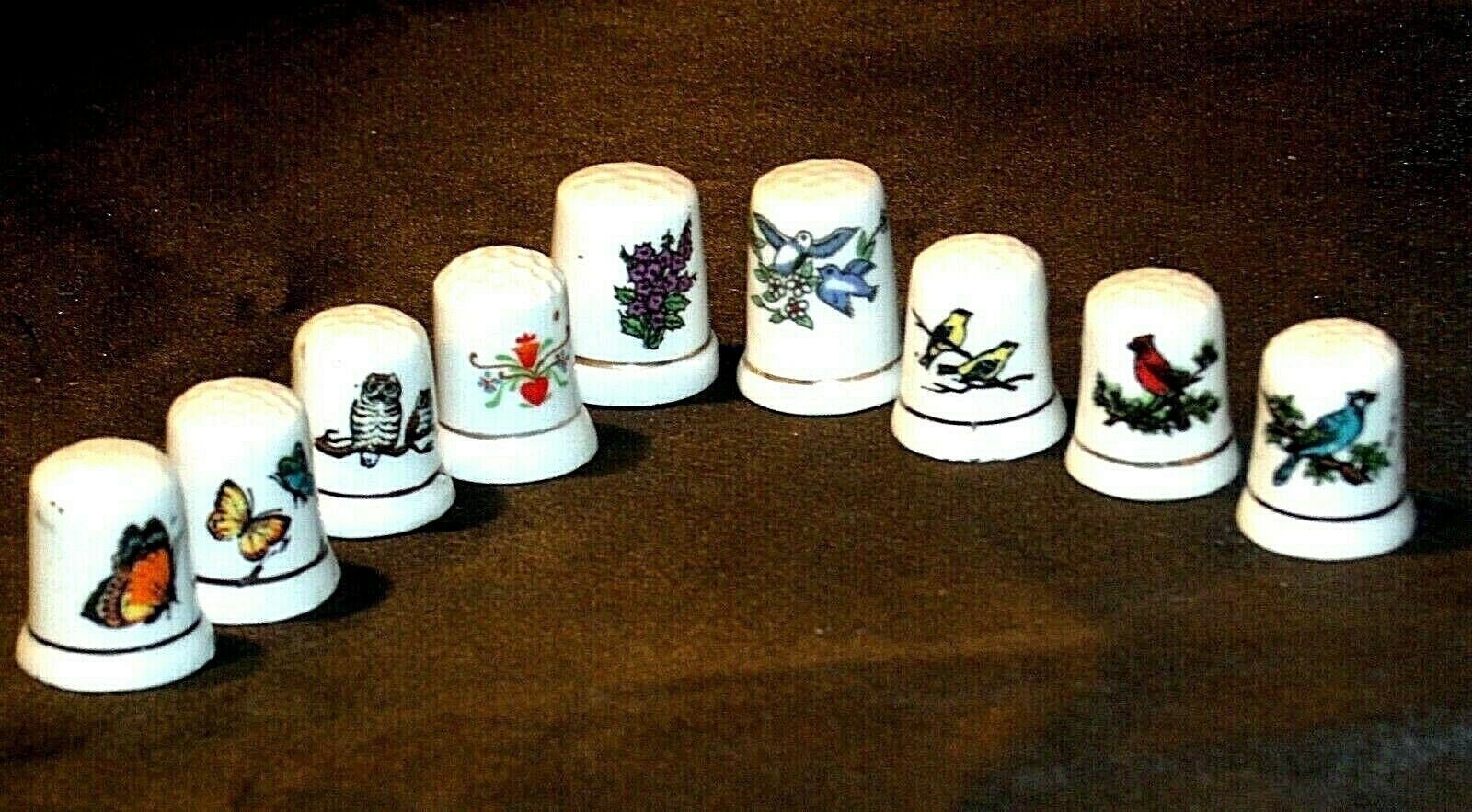 9 Porcelain Thimbles of Birds, Flowers and Butterfly's AB 273a Vintage