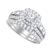 14kt White Gold Princess Diamond Halo Bridal Wedding Engagement Ring Set... - £2,859.95 GBP