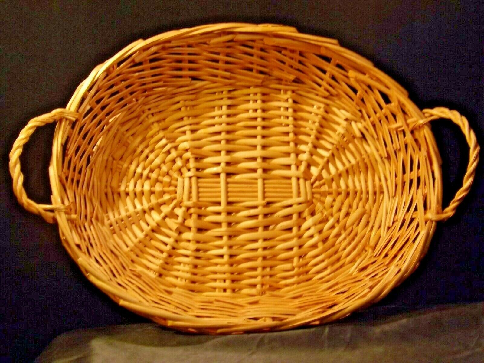 Handmade Woven Wicker Basket with Double Handles AA-191712 Vintage Collectible