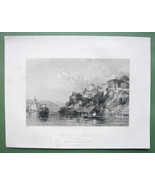CONSTANTINOPLE Scutari & Maiden Tower - ALLOM 1840s Original Engraving P... - $22.91