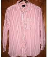 "Lizsport Long-Sleeve Striped Shirt, Size L, 47"" Bust, EUC - $8.95"
