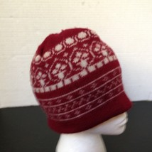 Wool Beanie Winter Hat Wool Made in USA Burgundy/White - $9.46