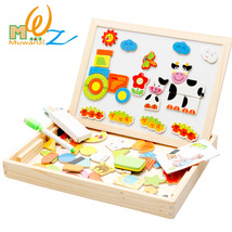 Wooden Magnetic Puzzles Board Child Jigsaw Drawing Educational Toys Gifts - $46.69