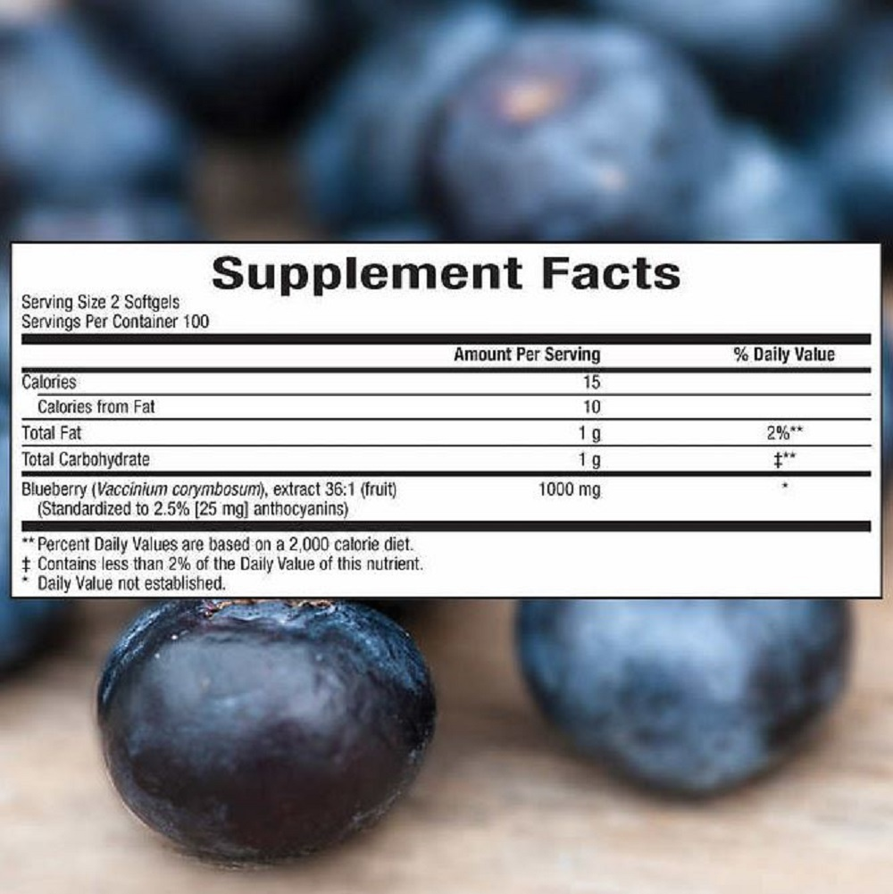 Blueberry Extract Softgels Antioxidant 1 Bottle 200 Ct Health Support Supplement