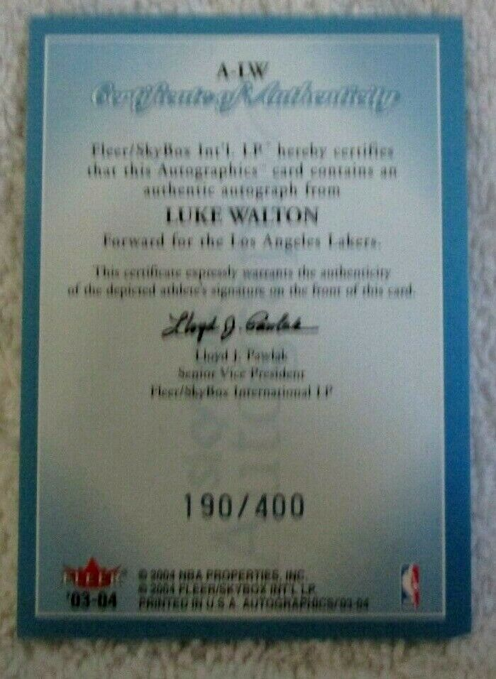 LUKE WALTON RC 2003-2004 FLEER SKYBOX ROOKIE AUTOGRAPH#190/400-LAKERS AUTO RC image 2