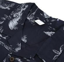 Men's Navy Tropical Button Up Hawaiian Aloha Revere Beach Casual Dress Shirt 2XL image 2