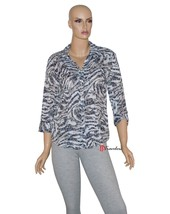 JM Collection Women's Top Blouse Gray Faux Zebra Print Cotton Size 8 $27.98 - $9.79
