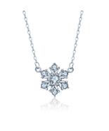 Fashion Women Sterling Silver Zircon Snow Necklace - $19.99
