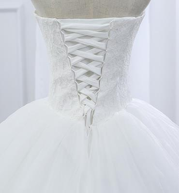 Lace Strapless Sleeveless White Satin Bridal Wedding Dress Wedding Ball Gown image 2