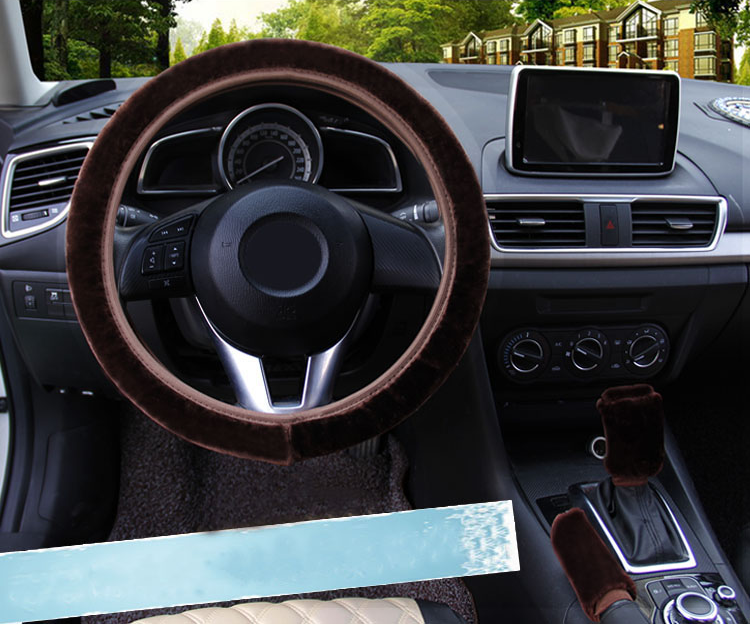 3Pcs Brown Winter Steering Wheel Cover Handbrake Car Automatic Cover/Warm Plush