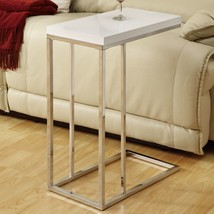 Stylish Chrome and Glossy White Top Snack Table - Foolproof Assembly - $63.17