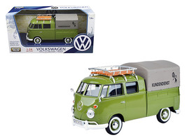 """Volkswagen Type 2 (T1) \""""Kundendienst\"""" Delivery Pickup Truck Green 1/24 Diecast - $40.03"""