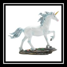 ~~UNICORN-Shimmer-Fantasy-PolyResin-Figurine-Classic-Dragon-Crest-(White... - $29.05