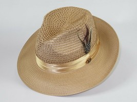 Men Summer Straw Style Hat BRUNO CAPELO Fedora Vented Crown Feather JU90... - $49.50