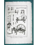1763 DIDEROT PRINT - Button Maker Tools for Making Molds Drills Lathe - $18.36