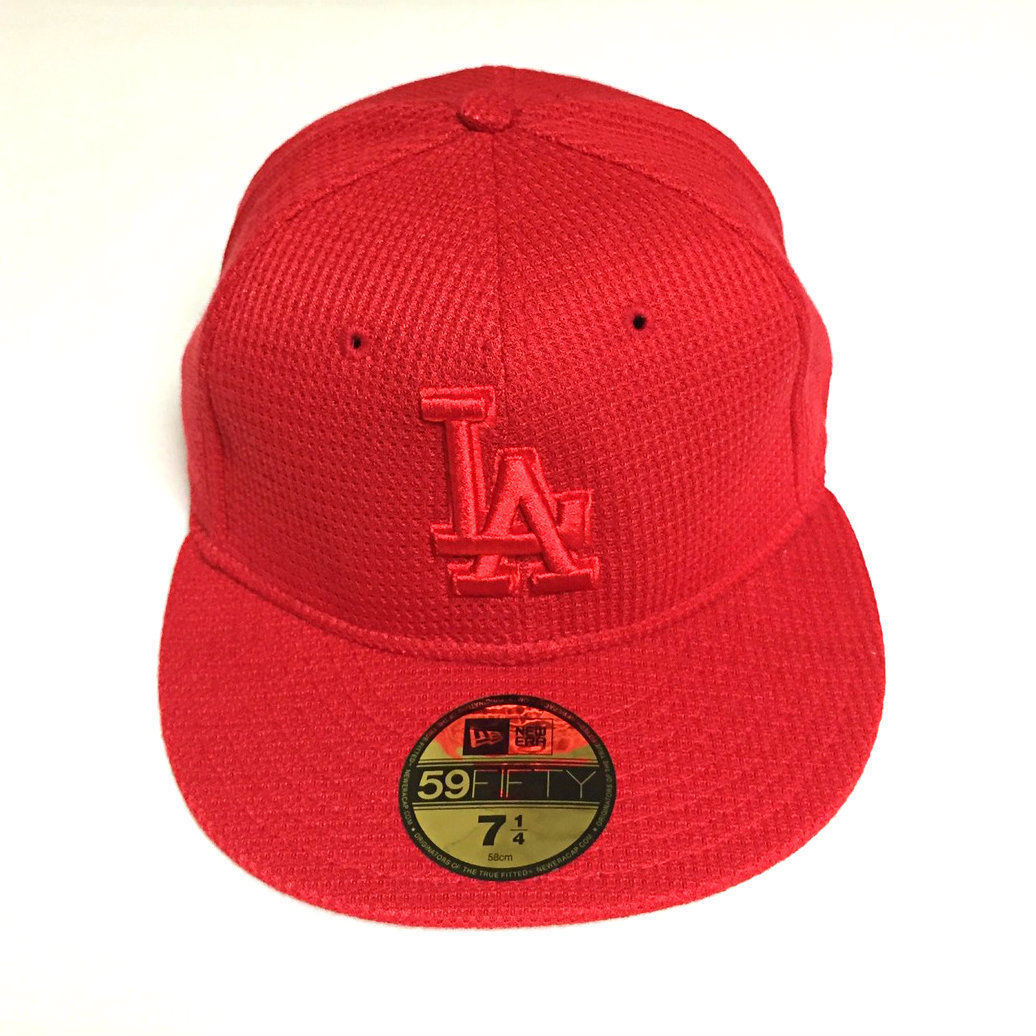 New Era MLB Los Angeles Dodgers 5950 Diamond All Red Fitted Hat 59Fifty