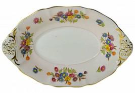 Elijah Brain Circa 1940 Porcelain BOWL English Serving Floral Pink Pasta LS - $17.09