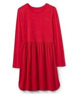 New Gap Kids Girl Red Long Sleeve Shimmer Dot Shirred Fit Flare Dress 10 14 16 - $24.99