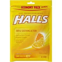 HALLS Honey Lemon Flavor Menthol Drops 80 ct. Bag Triple Soothing action - $16.72