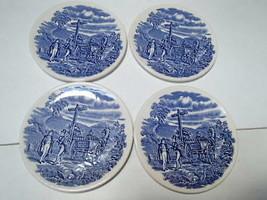 4 Dickens English Ironstore Coasters ~ Coach/Wagon Scene  - $9.95
