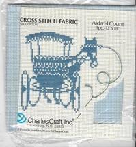 "Charles Craft Aida 14 Count Cross Stitch Fabriic 12"" X 18""  - Lt Blue - NIP - $9.90"