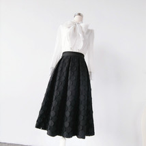 Lady Black A Line Full Pleated Skirt High Waist Midi Black Skirt with polka dot image 4