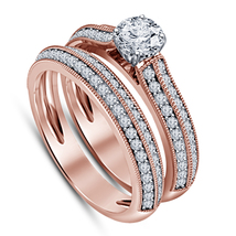14k Rose Gold Finish 925 Sterling Silver Womens Wedding Bridal Diamond Ring Set - $94.99