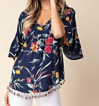 Navy Floral Relaxed Top w Fringe, Ivory Floral Top, Faux Wrap Top, Kori America