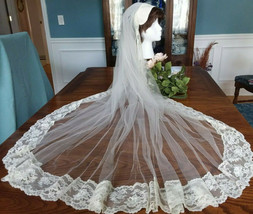 Vintage Ivory Single Layer Lace Edged Wedding Veil w/Lace Juliet Cap NEW - $27.99