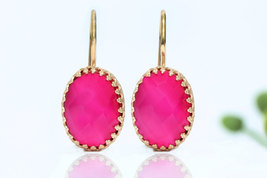 Dangle earrings,hot pink earrings,chalcedony earrings,gemstone earrings - $59.00+