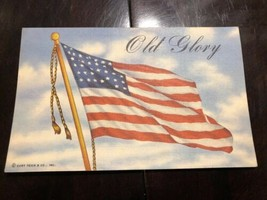 Postcard Patriotic OLD GLORY American Flag Colorful Linen Curt Teich & Co. - $5.00