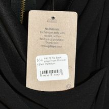 Pitaya Women's Tie Back Wrap Front Adjustable Strap Black Tank Romper Size M NWT image 3