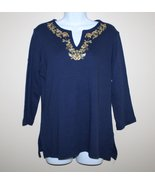 Blue Tunic Style  Top Classic Elements  3/4 Sleeves Embroidery & Sequins... - $11.00