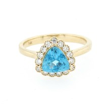 1.18 Carat Apatite And Diamond Ring In 14k Yellow Gold (21124) - $653.40