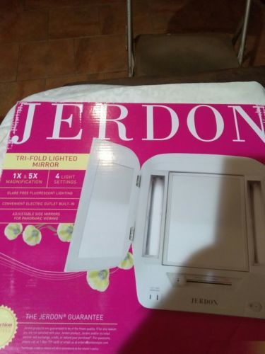 Jerdon Tri Fold Two Sided Lighted Makeup Mirror With 5x Magnification White Finish Jgl9w