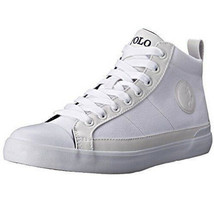NEW IN BOX Polo Ralph Lauren Men's White Clarke High Top Canvas Sneakers... - $79.19