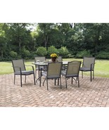 """Large Patio Dining Set 6 Cushioned Seats 61"""" Table Waterproof Sturdy Com... - $398.75"""