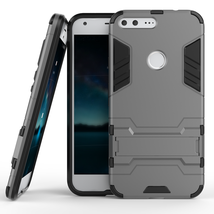 Kickstand Tough Dual Layer Protective Case For Google Pixel 5.0inch - Gray  - $4.99