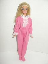 Barbie Flat Feet Doll in Pink Sleeper Footed Pajamas - Bedtime - $7.99