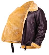 Dunkirk Farrier Tom Hardy Fur Shearling Aviator Brown Bomber Real Leather Jacket image 4