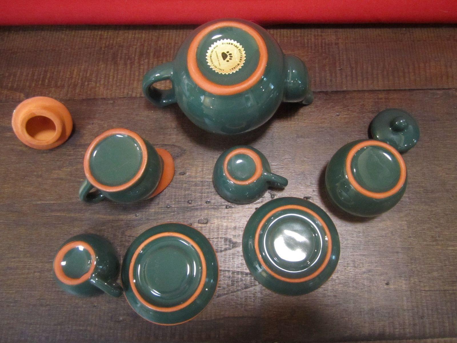 Boyds Bears Potteryworks Teaset #654600  Dark Green in box Emily's Teaset