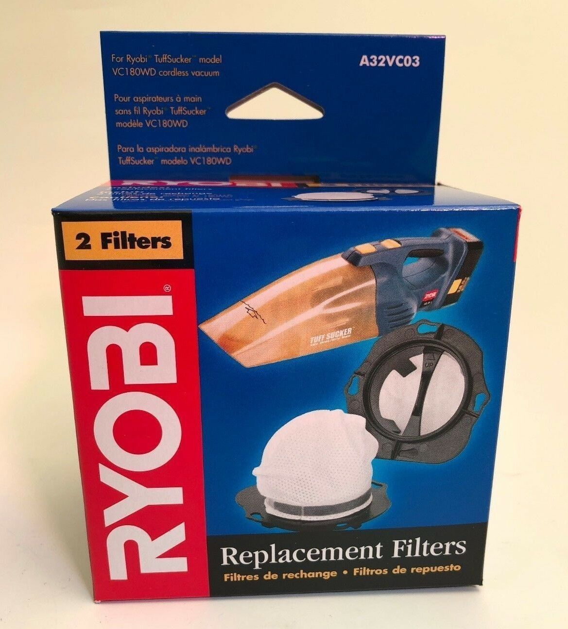 Primary image for Ryobi Vacuum Replacement Filters A32VC03 Pack