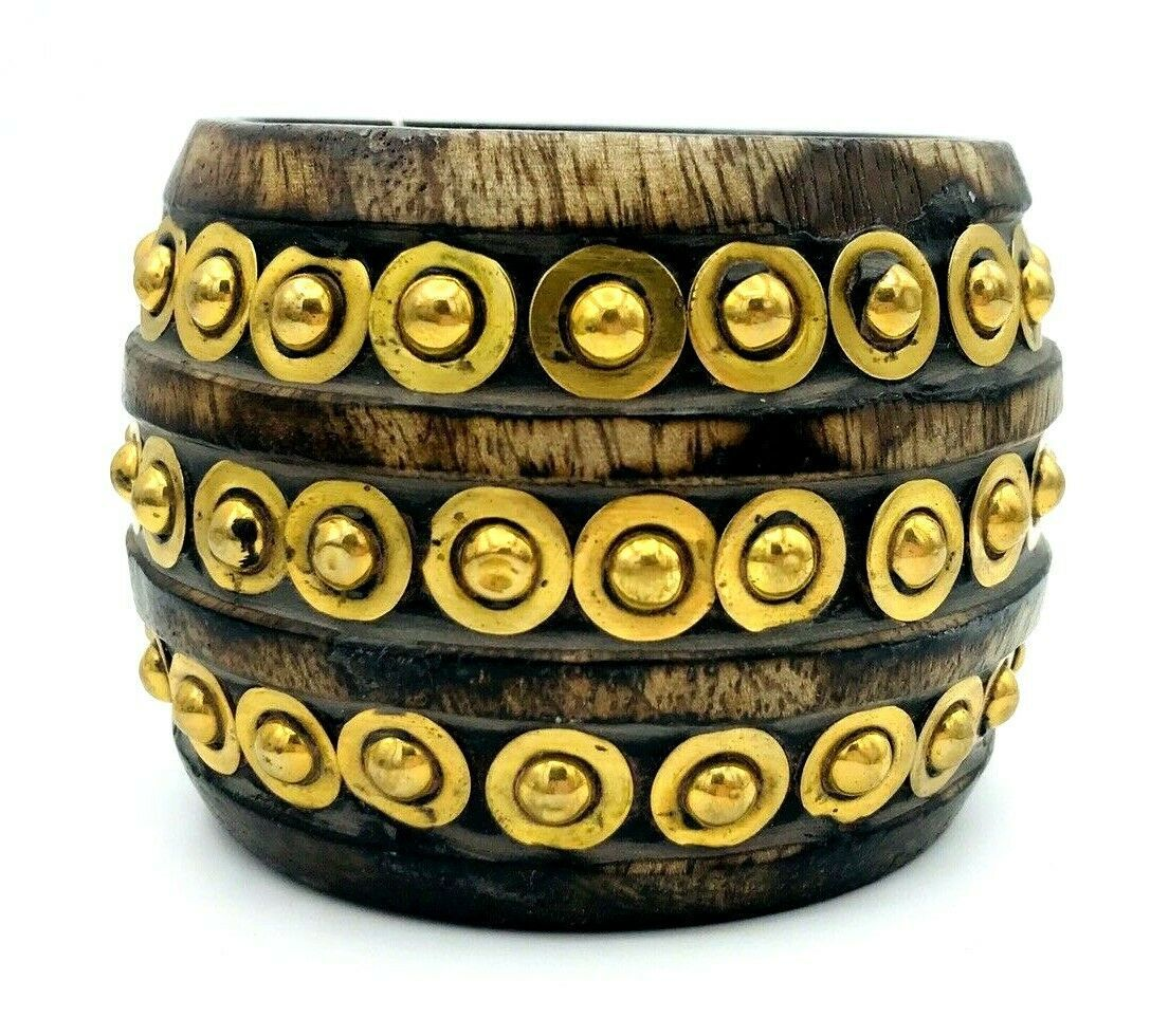 Primary image for GANZ INDIA Wide BOHO Wooden Brass Rivet Bangle Bracelet X SMALL