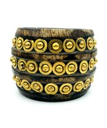 GANZ INDIA Wide BOHO Wooden Brass Rivet Bangle Bracelet X SMALL - $12.86