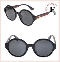 60fed6a4e2f GUCCI 0280 Black Sylvie Blue Red Stripe Round Unisex Sunglasses GG0280SA -   241.56