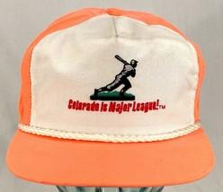 COLORADO IS MAJOR LEAUGE Baseball Hat-Orange-Rope Bill-Leather Strap Bac... - $26.17