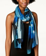 Calvin Klein Abstract Painterly Chiffon Teal Blue Scarf - $40 - NWT - $18.99