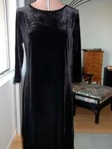 Appleseeds Womens Size M L Dark Black Velvet Dress Long Midnight Stretch... - $24.89