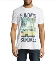 NEW MENS BODY RAGS CLOTHING CREW NECK WHITE SUNDAYS GRAPHIC PRINT T SHIR... - $17.99